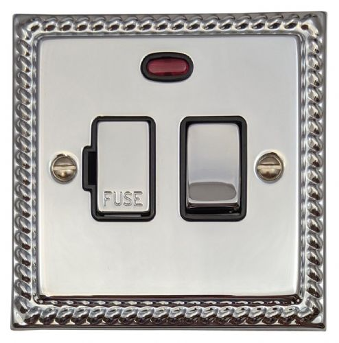 G&H MC327 Monarch Roped Polished Chrome 1 Gang Fused Spur 13A Switched & Neon